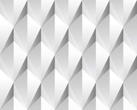White volumetric abstract texture (seamless). Modern concept pattern (rhombus). Vector