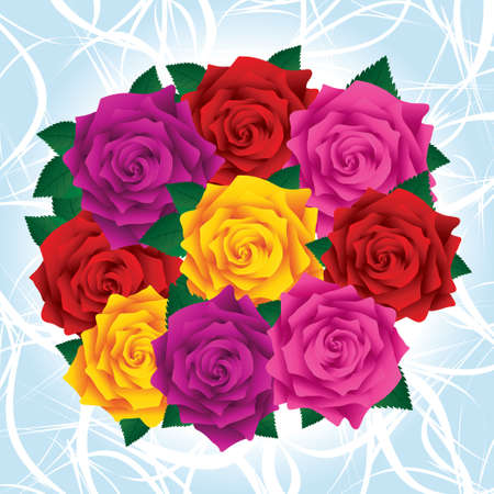 Bouquet of colorful lush roses with green leafs on a light blue backgorund. Lush red roses. Vector
