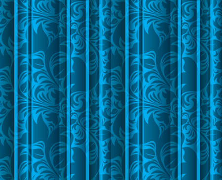 Curtains Ideas curtains background : Seamless Floral Texture On The Blue Volumetric Curtains ...