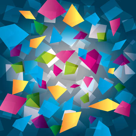 Colorful abstract background with rectangles (geometrical). Different figures (pink, yellow, purple, green, blue). Modern composition. Vector