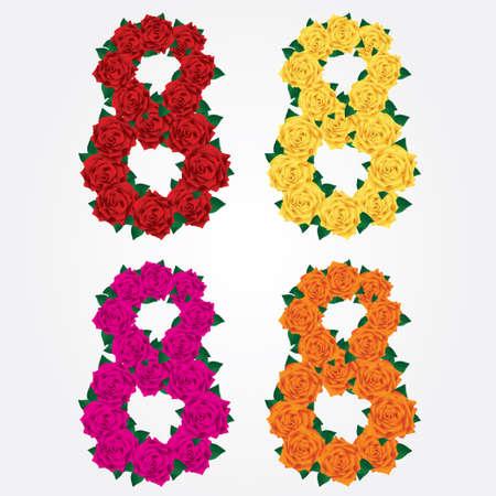 eights: Colorida colecci�n de ochos aislados de rosas rosas rojo, amarillo, naranja, rosa, el 8 de marzo
