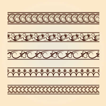 Set of classic floral lines  vintage collection   Decorative floral brown elements  Vintage design  photo