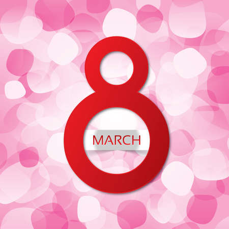 8 march Womens Day card on a abstract background (vector). Red eight (3d). Bright greeting card on a white background. Vector