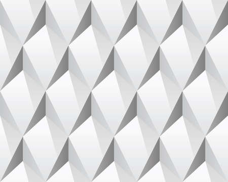 volumetric: White 3d abstract seamless texture (vector). Modern concept pattern (rhombus). Bright background (illustration).