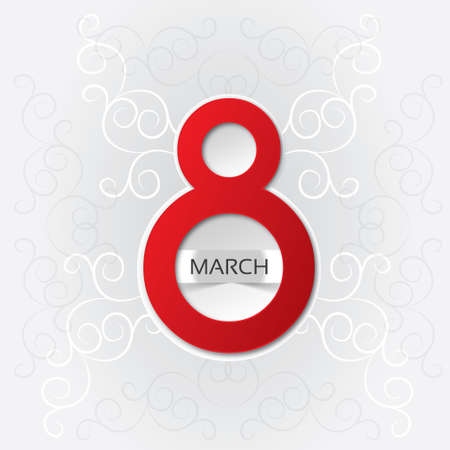 compliments: 8 march Womens Day card with pattern (vector). Red eight (3d). Bright greeting card on a white background. Illustration