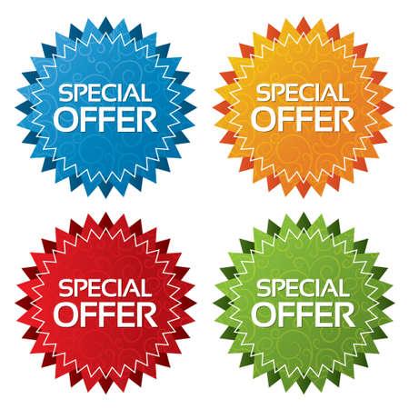 Kleurrijke aanbod tags met texturen collectie (vector). Pictogrammen instellen. Speciale aanbieding etiketten illustratie (blauw, groen, rood, oranje).