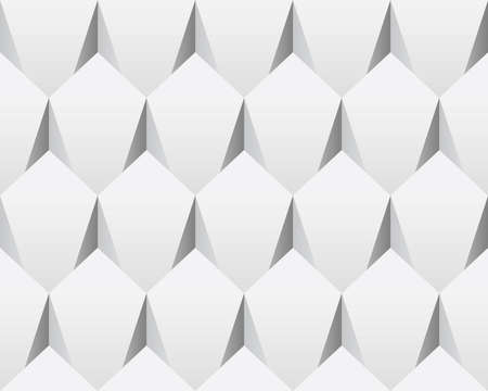White 3d abstract seamless texture (vector). Modern concept pattern (rhombus). Bright background (illustration). Vector