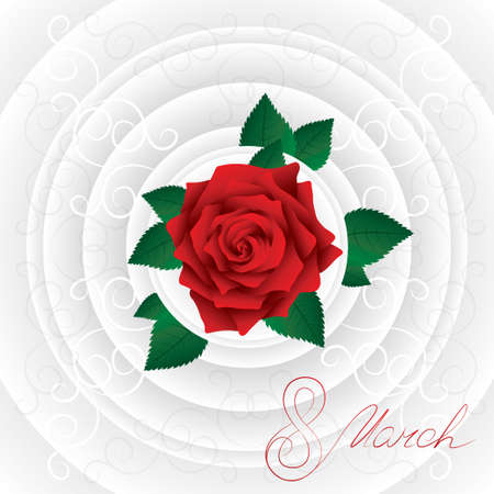 compliments: Handwritten 8 march Womens Day card with lush rose. Red rose with leafs. Bright greeting card (circles). Stock Photo