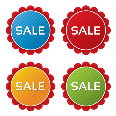 Colorful sale tags (sticker) with texture collection (vector). Icons set. Sale labels illustration (blue, green, red, orange). Vector