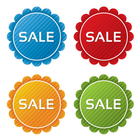 Colorful sale tags (sticker) with texture collection (vector). Icons set. Sale labels illustration (blue, green, red, orange). Stock Vector - 18534462