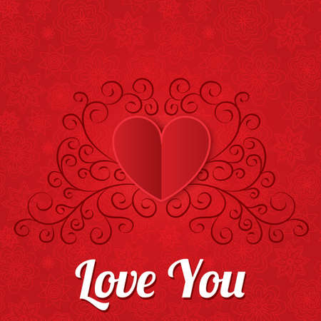 you figure: Red paper hearts background. Valentines day card. Vintage floral element. Geometrical 3d shape (shadow).