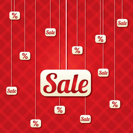 Sale poster with percent discount. Abstract sale background. Shopping modern icons. Vector
