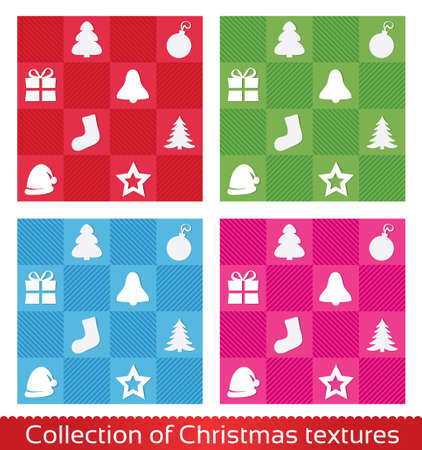Seamless christmas texture pattern. set, collection. Christmas tree, star, hat, sock, ball, gift. Vector
