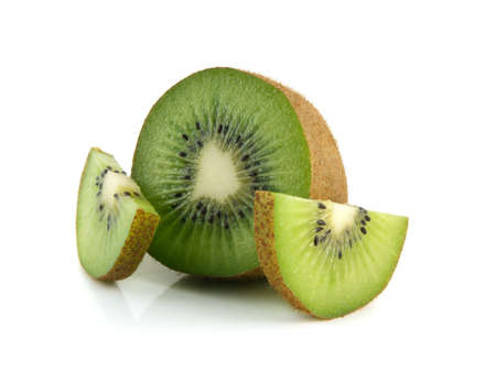 two and a half: Isolated half of kiwi with two slices (white background). Fresh diet fruit. Healthy fruit with vitamins.