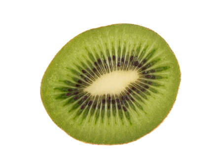 Isolated slice of kiwi on white background (closeup). Fresh diet fruit. Healthy fruit with vitamins. photo