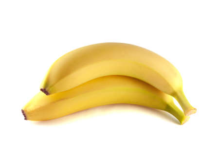 banana peel: Two bananas isolated on white background (ripe). Healthy fresh fruit with vitamins.