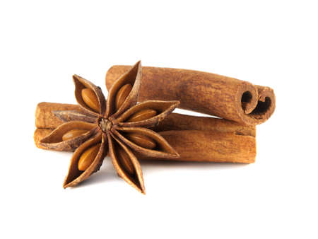 Cinnamon sticks and anise star. Isolated on white background. photo