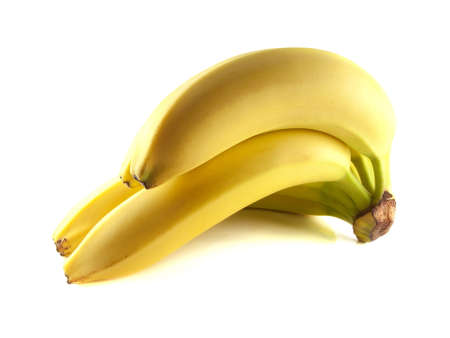 Bunch of bananas isolated on white background (ripe). Healthy fresh fruit with vitamins. photo