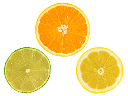 Slices of ripe orange, lemon, lime isolated on white background. Set of fresh diet citrus fruits (health). Healthy fruits with vitamins. photo