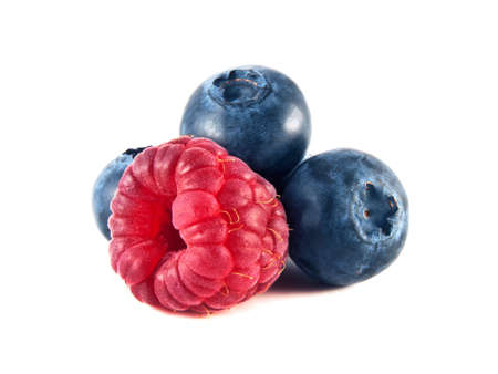 Fresh blueberries, raspberry isolated on white background. photo