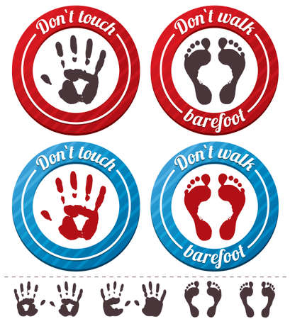 do not touch: conceptual feet and hand signs  set   Illustration