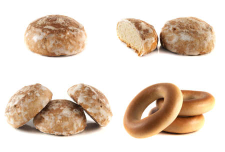 Honey-cake and bagels collection isolated on white photo