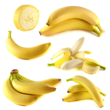 Bananas collection isolated on white background (set). photo