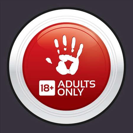 Adults only content button. Vector red round sticker with handprint. Metallic icon with gradient. Vector