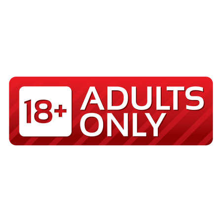 Adults only content button. Vector red sticker. Icon with gradient. Illustration