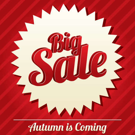 Big sale tag (vector). Bright sticker. Icon for special offer. Autumn is coming. Illustration
