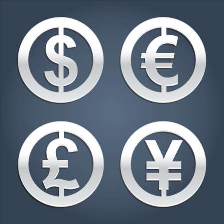 currency: Dollar, Euro, Pound and Yen silver signs vector collection. Set of currency icons. Signs for banking business.
