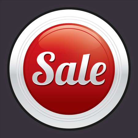 Sale button. Vector red round sticker. Metallic icon with gradient. Stock Vector - 21906791