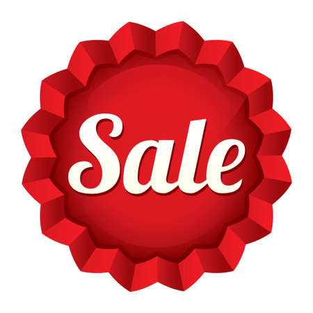 Sale tag. Vector red round star sticker. Icon for shopping. Stock Vector - 21906792