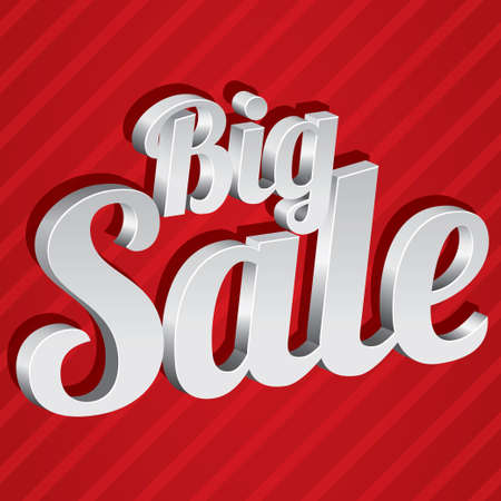 Big sale tag (vector). Silver 3d sticker. Icon for special offer. Illustration