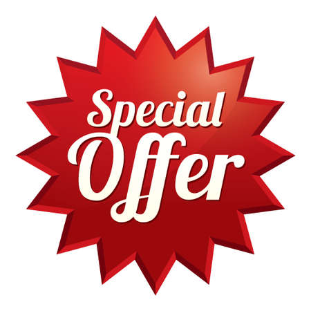Special offer tag (vector). Red sticker. Icon for sale. Illustration