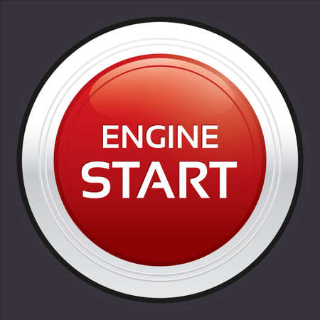 Start engine button. Vector red round sticker. Metallic icon with gradient. Vector