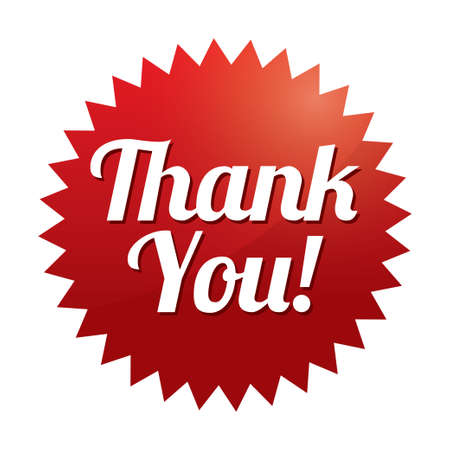 thank you: Thank you tag (vector). Red sticker. Icon for web. Illustration