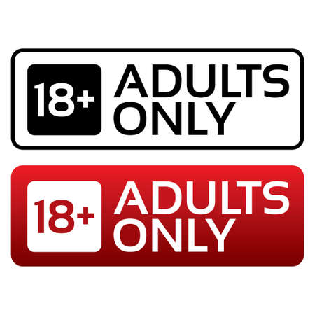 Adults only content button. Vector sticker. Age limit stamp. Vector