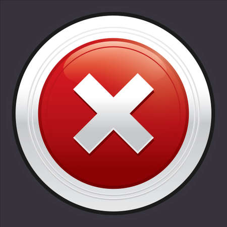 No button. Cancel icon. Vector red round sticker. Metallic icon with gradient. Stock Vector - 21906850