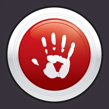 Hand stop button. Vector red round sticker. Metallic icon with gradient. Vector