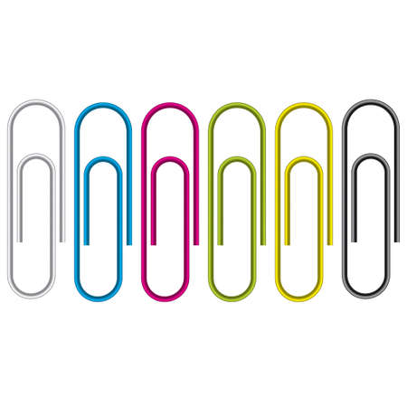 Paper clip isolated on white background. Vector Illustration. Colorful collection (set). Vector
