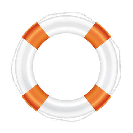 salvation: White lifebuoy with orange stripes and rope (life salvation). Isolated on white background. Vector illustration.