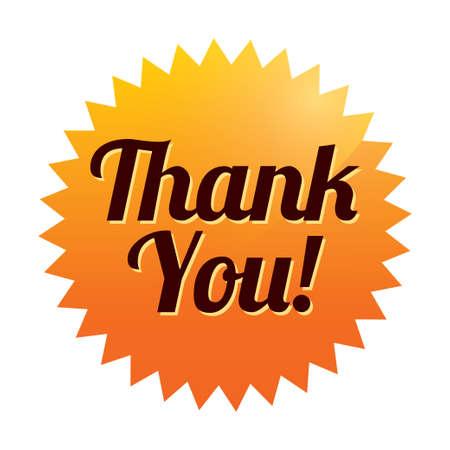 Dank u sticker (vector). Oranje label. Pictogram voor web. Stock Illustratie