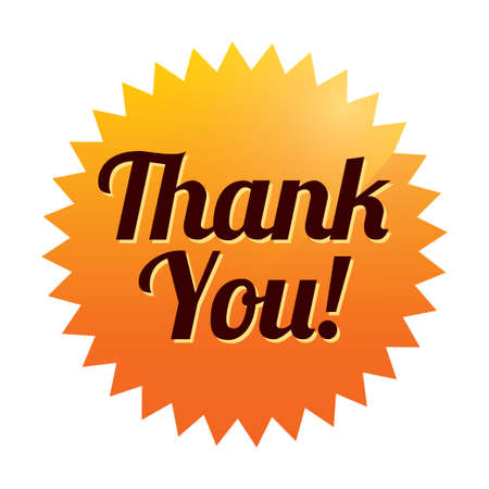 Thank you sticker (vector). Orange tag. Icon for web. Vector