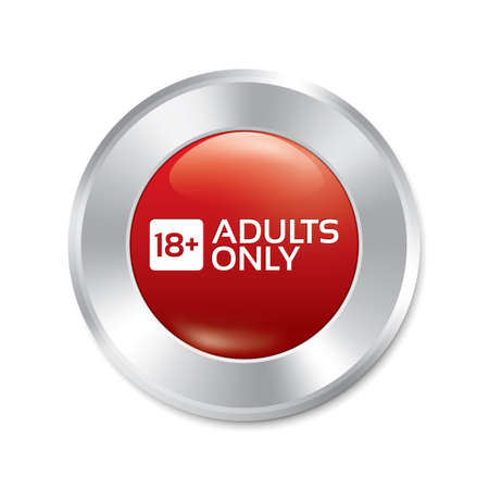 Adults only content button. Vector age limit red round sticker. Realistic metallic icon with gradient. Isolated. Vector