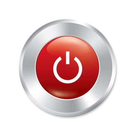 Power on button. Vector turn on red round sticker. Realistic metallic engine icon with gradient. Isolated. Vector