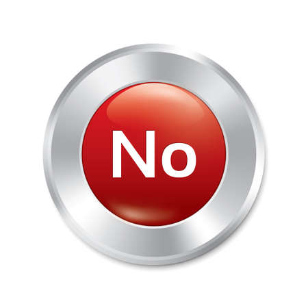 No button. Vector red round sticker. Realistic metallic icon with gradient. Isolated. Vector