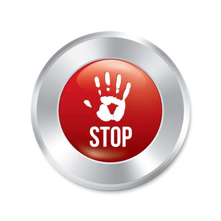 Hand stop button. Vector age limit red round sticker. Realistic metallic icon with gradient. Isolated. Vector