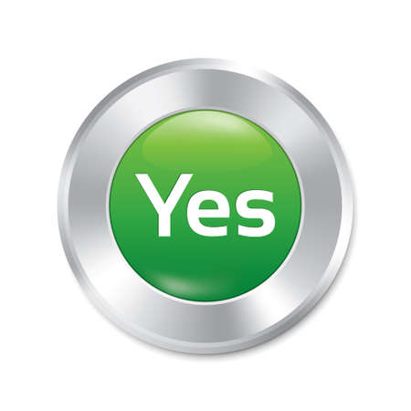 Yes button. Vector accept green round sticker. Realistic metallic correct icon with gradient. Isolated. Vector