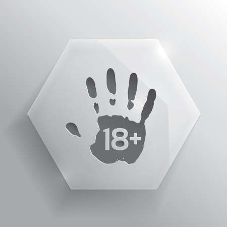 Glass adults only button. Age limit button. Vector illustration. Realistic hand icon. Vector